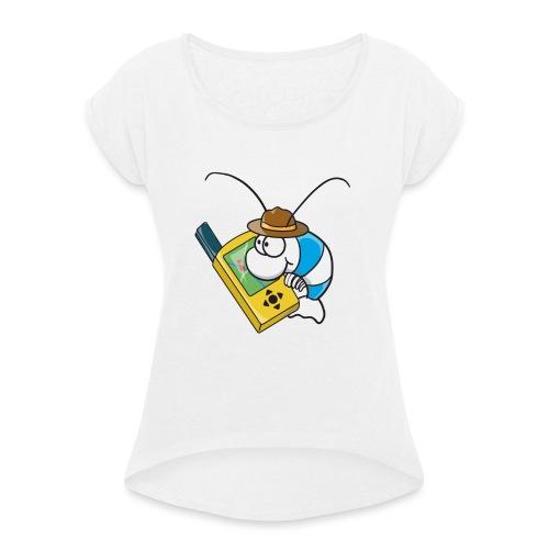 Thoddys Geocaching Garnele - Frauen T-Shirt mit gerollten Ärmeln