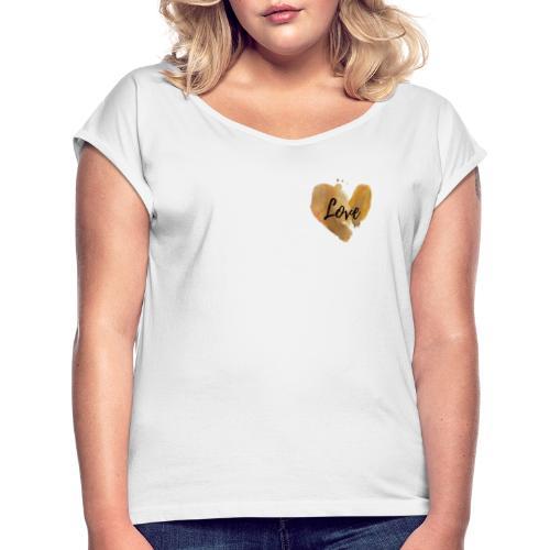 Love Logo Liebe Gold Herz - Frauen T-Shirt mit gerollten Ärmeln
