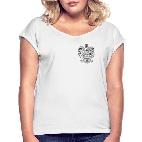 Herb szlachecki - Symbol Polski - Pierś - Koszulka damska z lekko podwiniętymi rękawami