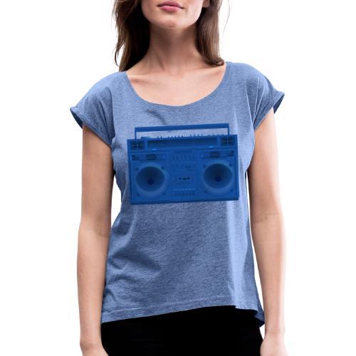 Bestes Stereo blau Design online - Frauen T-Shirt mit gerollten Ärmeln