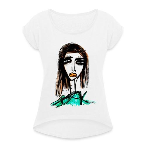 Long Lashes - T-shirt med upprullade ärmar dam