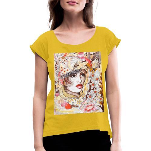 Tant Brun - T-shirt med upprullade ärmar dam