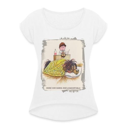 Thelwell Cartoon Pony liegt unter der Bettdecke - Frauen T-Shirt mit gerollten Ärmeln