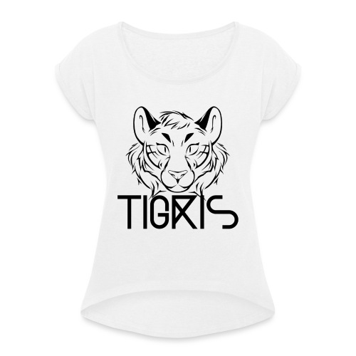 Tigris Logo Picture Text Black - Women's T-Shirt with rolled up sleeves