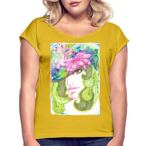 Brunögd - T-shirt med upprullade ärmar dam
