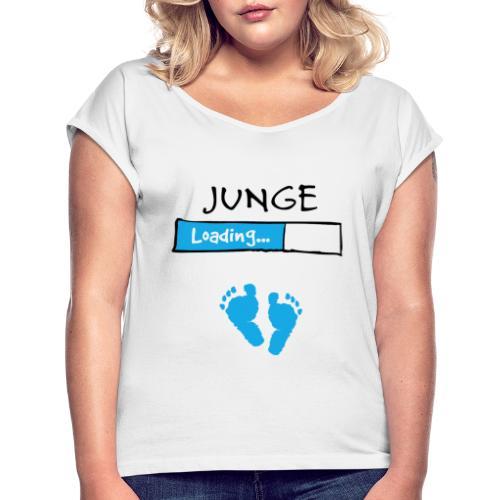 Junge loading // Schwangerschaft T-Shirt - Frauen T-Shirt mit gerollten Ärmeln