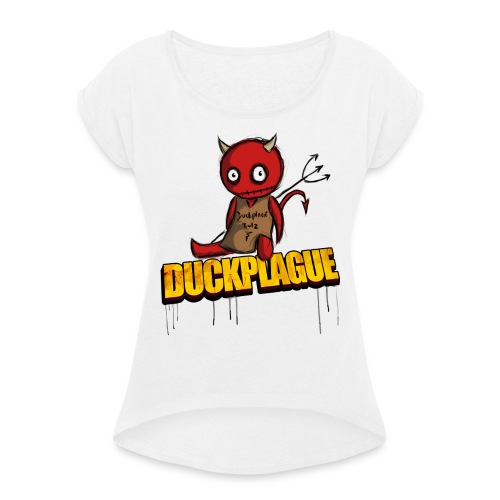 Little Devil - T-shirt med upprullade ärmar dam