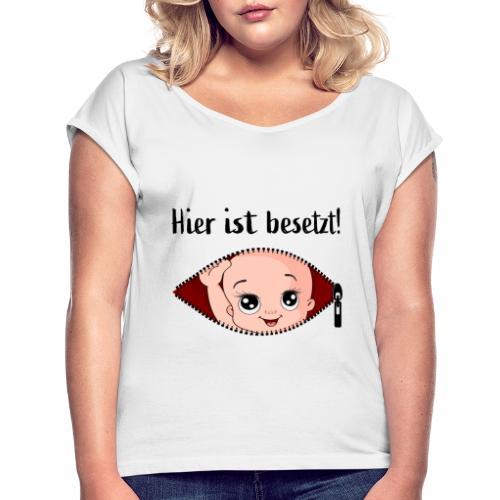 Schwangerschaft T-Shirt - Frauen T-Shirt mit gerollten Ärmeln