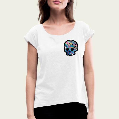Skull craneo reflejante - Camiseta con manga enrollada mujer