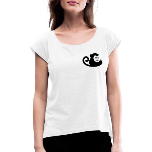 Logo Schwarz ohne schrift - Frauen T-Shirt mit gerollten Ärmeln