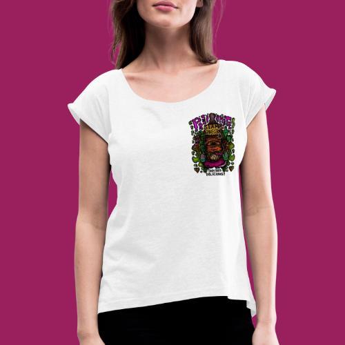 Tune in - Frauen T-Shirt mit gerollten Ärmeln