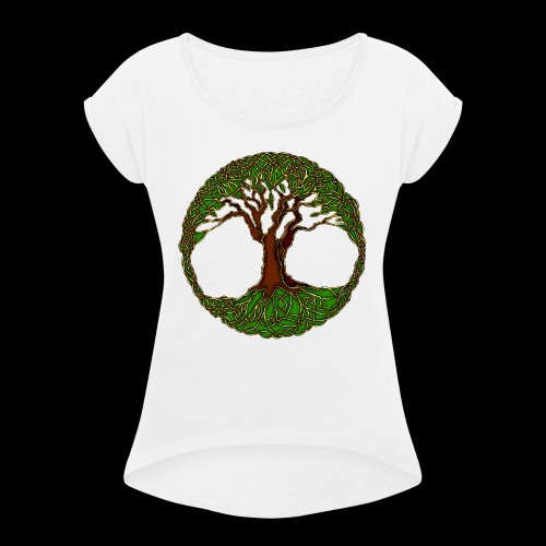 Tree of Life - colour - Women's T-Shirt with rolled up sleeves