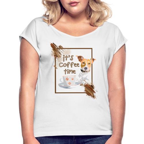 Czas na Kawę - Koszulka damska z lekko podwiniętymi rękawami