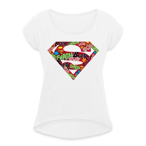 DC Comics Superman Logo Mit Lautmalerei - Frauen T-Shirt mit gerollten Ärmeln