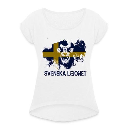 Svenska Lejonet Official Chest Logo - T-shirt med upprullade ärmar dam