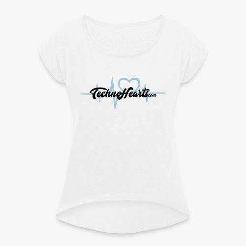 TechnoHearts logotype - T-shirt med upprullade ärmar dam