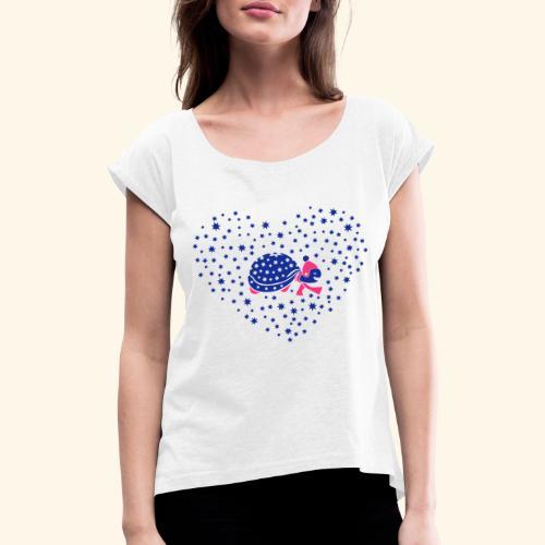 Schildkröte im Schneeherz - Frauen T-Shirt mit gerollten Ärmeln