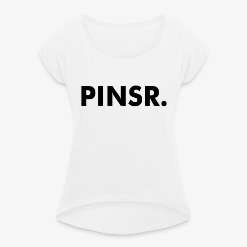PINSR. White - Vrouwen T-shirt met opgerolde mouwen