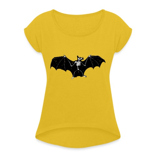 Bat skeleton #1 - Women's T-Shirt with rolled up sleeves