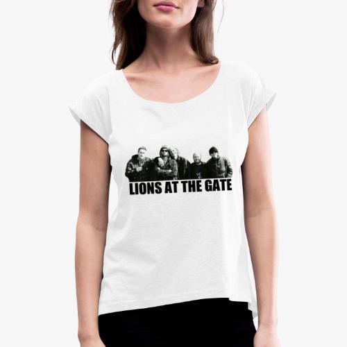 LIONS AT THE GATE SHIRT (WHITE) - Vrouwen T-shirt met opgerolde mouwen