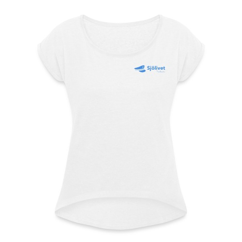 Sjölivet podcast - Svart logotyp - T-shirt med upprullade ärmar dam