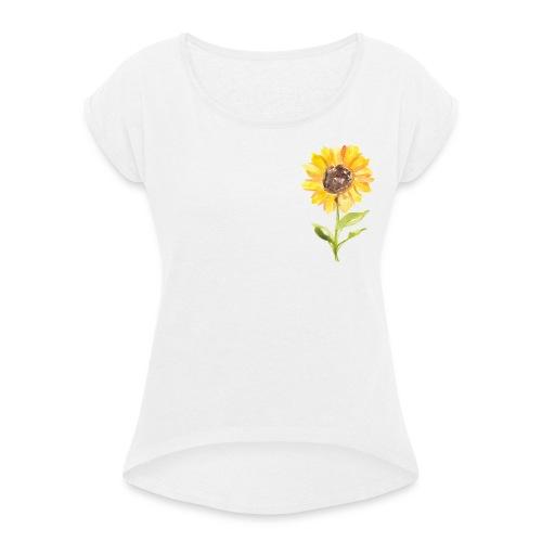 Sonnenblume Sunflower - Frauen T-Shirt mit gerollten Ärmeln