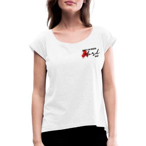 DEBMS Logo schwarz - Frauen T-Shirt mit gerollten Ärmeln
