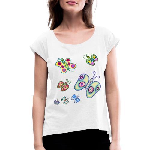 Allegria di farfalle - Maglietta da donna con risvolti