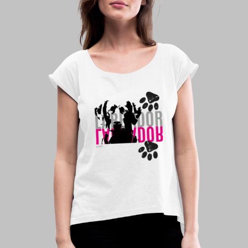 Labrador Kopf Pfoten - Frauen T-Shirt mit gerollten Ärmeln