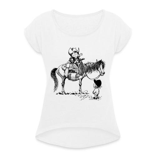 Thelwell Cartoon Cowboy mit seinem Pony - Frauen T-Shirt mit gerollten Ärmeln