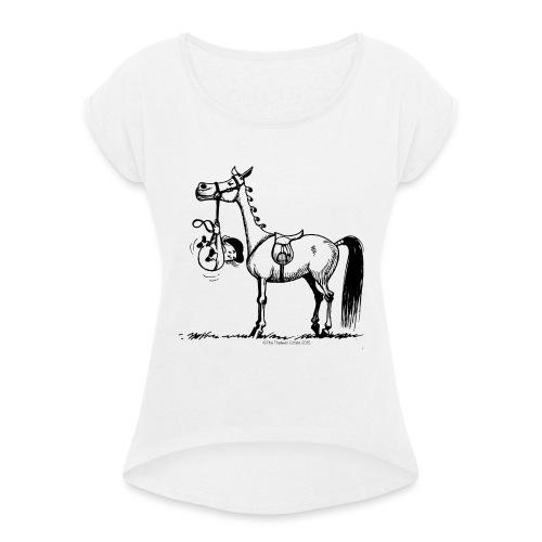 Thelwell Cartoon Stures Pony - Frauen T-Shirt mit gerollten Ärmeln