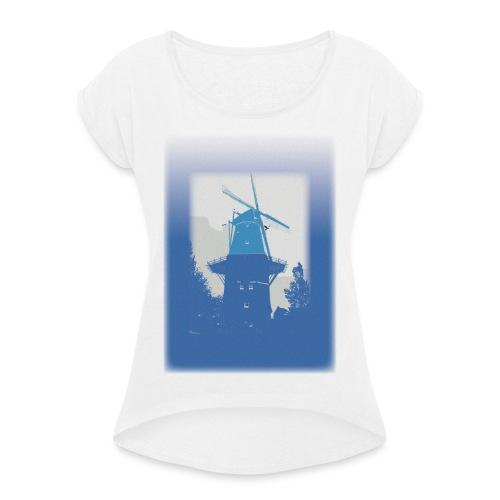 Mills blue - Koszulka damska z lekko podwiniętymi rękawami