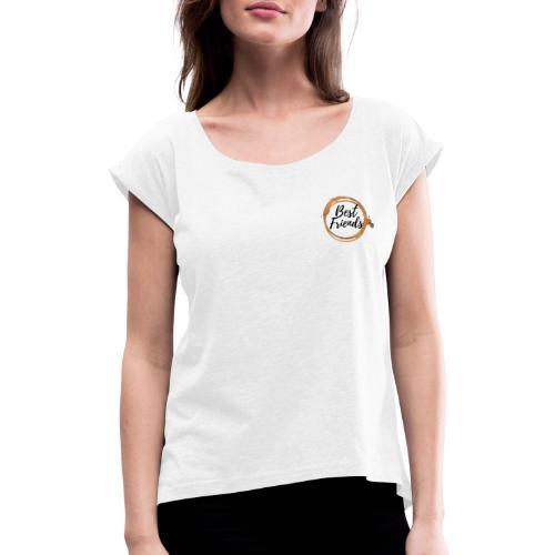 Best Friends Logo, Gold, Watercolour - Frauen T-Shirt mit gerollten Ärmeln