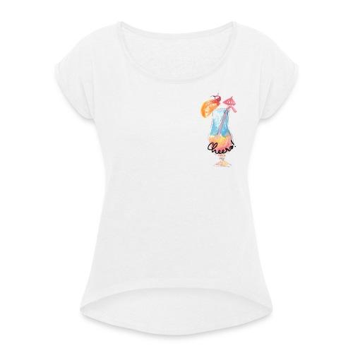 Cheers Cocktail Rainbow Swimming Pool - Frauen T-Shirt mit gerollten Ärmeln