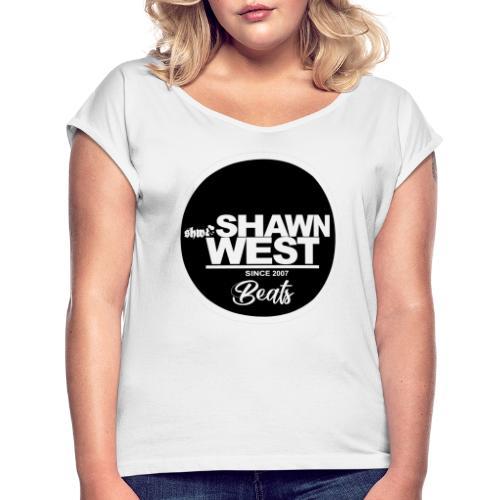 SHAWN WEST BUTTON - Frauen T-Shirt mit gerollten Ärmeln