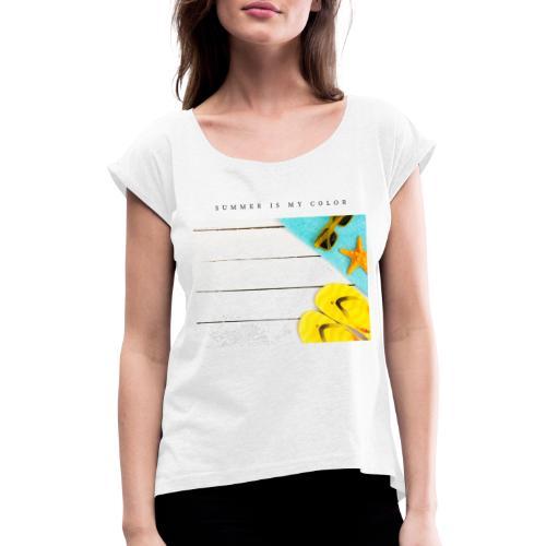summer is my color - Maglietta da donna con risvolti