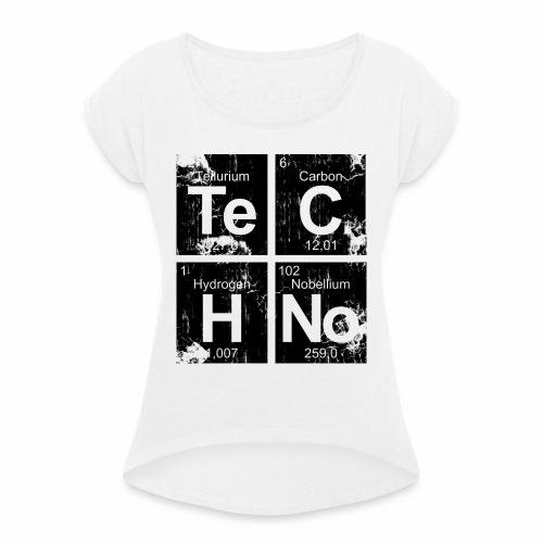 Dark Techno Elemente Black & White Paranoid Rave - Frauen T-Shirt mit gerollten Ärmeln