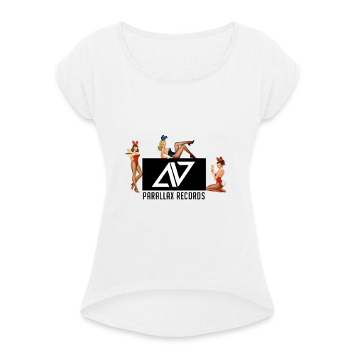Parallax Records logo classic - Women's T-Shirt with rolled up sleeves