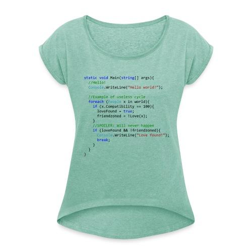 Love seen by a C# programmer - Maglietta da donna con risvolti