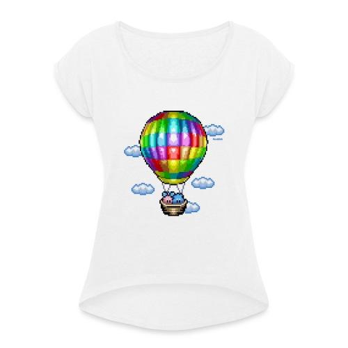 Heißluftballon - Frauen T-Shirt mit gerollten Ärmeln