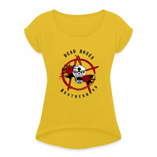 Dead Roses Anarchy Skull Black - Women's T-Shirt with rolled up sleeves
