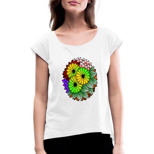 Mandala Blumen Design - Frauen T-Shirt mit gerollten Ärmeln