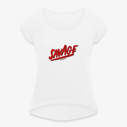 savagjonssongang - T-shirt med upprullade ärmar dam