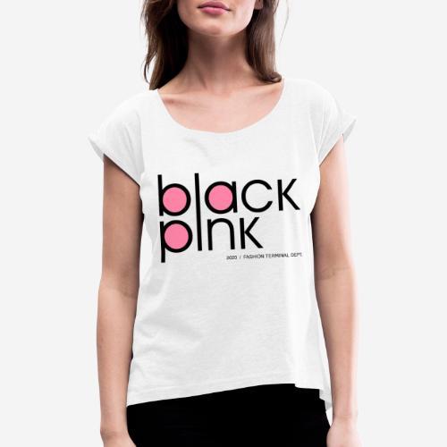 schwarzer rosa Modestil - Frauen T-Shirt mit gerollten Ärmeln