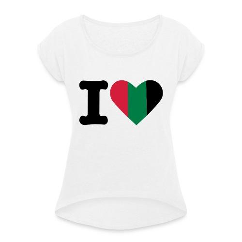 hartjeroodzwartgroen - Vrouwen T-shirt met opgerolde mouwen