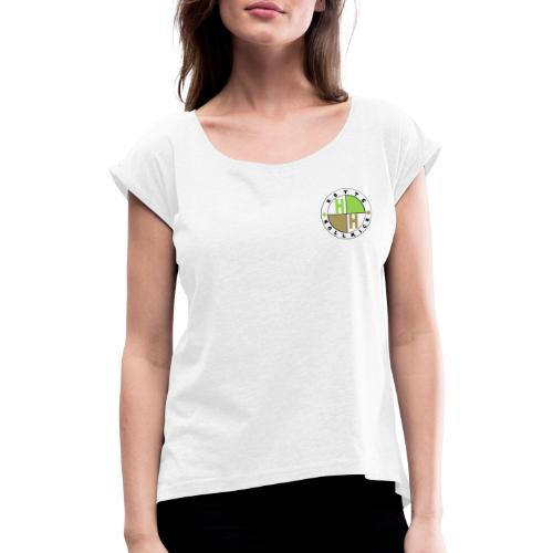 Hütte Höllrich Logo auf Brust - Frauen T-Shirt mit gerollten Ärmeln