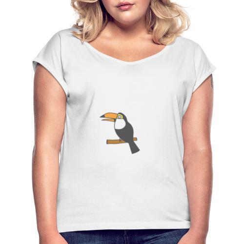 Happy toucan - Vrouwen T-shirt met opgerolde mouwen