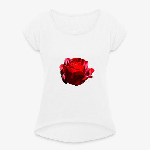 Red Rose - Frauen T-Shirt mit gerollten Ärmeln