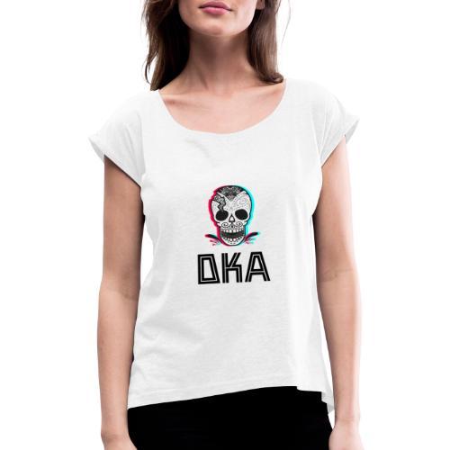 DKA - logo alternatywne - Koszulka damska z lekko podwiniętymi rękawami