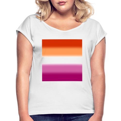 Verschwommene Lesben Flagge - Frauen T-Shirt mit gerollten Ärmeln